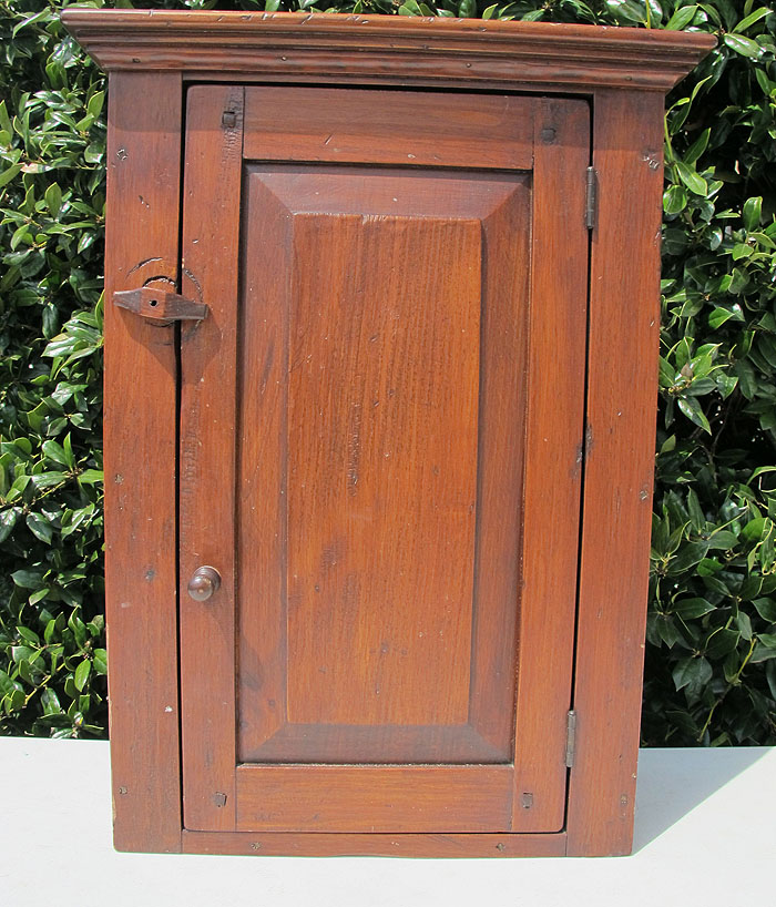 Antique Wooden Pine Hanging Wall Cabinet Kitchen Cupboard W/ Four Shelves Yqz